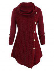 Plus Size Cowl Neck Tunic Cable Knit Top -