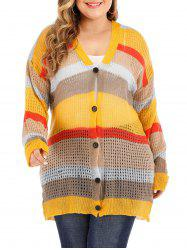 Plus Size Colorblock Bouton Cardigan - Jaune 3X