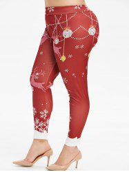 Plus Size Snowflake Elk Leggings Noël -