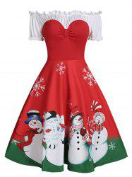 Christmas Snowman Print Off The Shoulder Ruffle Skater Dress -