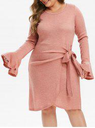 Plus Size Knotted Asymmetric Sweater Dress -