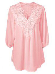 V Neck Lace Panel Curved Hem Chiffon Plus Size Blouse -