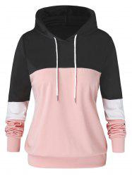 Plus Size Color-blocking Drawstring Pullover Hoodie -