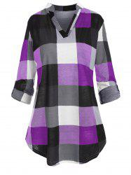 Plus Size Checked Roll Up Sleeve Blouse -