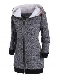 Plus Size Space Dye Zip Up Hooded Coat -