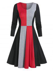 Contraste manches longues Robe patineuse -