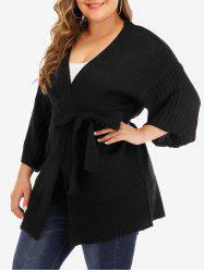 Plus Size Belted Solid Cardigan -