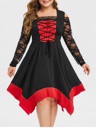 Plus Size Handkerchief Two Tone Lace Up Halloween Gothic Dress -