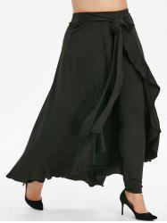 Plus Size Belted Ruffle Maxi Skirted Pants -