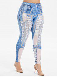 Plus Size Ripped 3D Print Faux Denim Leggings -