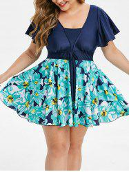 Plus Size Flutter Sleeve Floral Skirted Tankini Swimsuit -