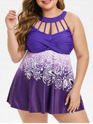 Ruched Strappy Cut Out Printed Plus Size Tankini Swimsuit -