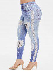 Plus Size Destroyed Sequin 3D Print Skinny Jeggings -