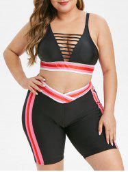 Overlap Waist Stripes Laddering Cut Out Plus Size Bikini Swimsuit -