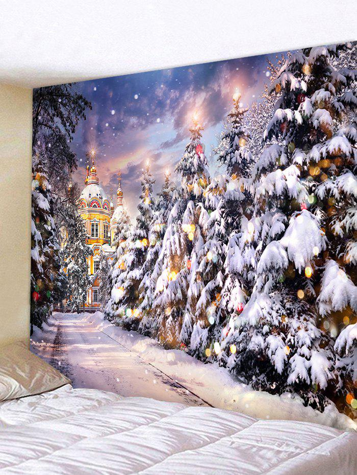 Discount Christmas Tree Castle Street Print Tapestry Wall Hanging Art Decoration