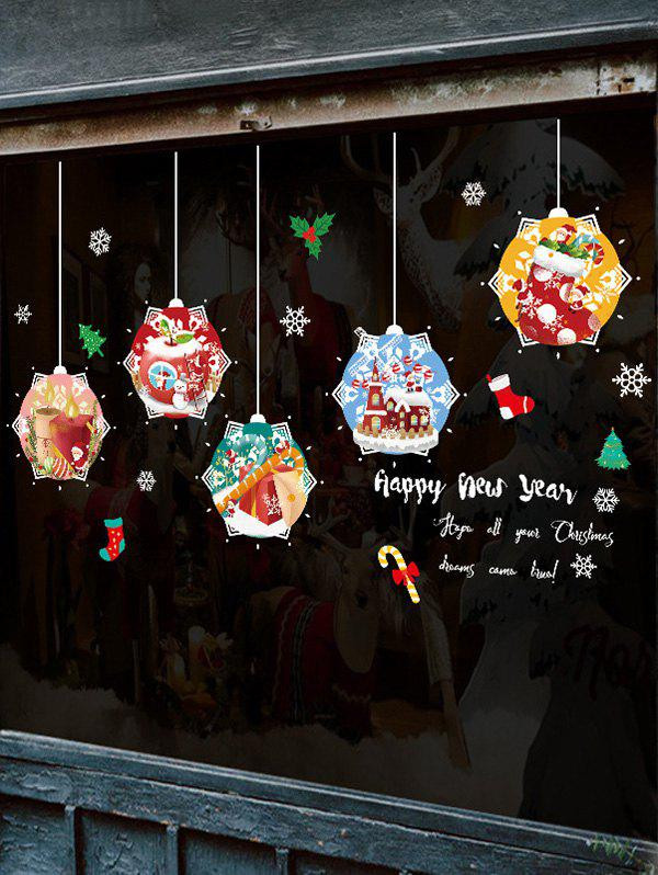Affordable Christmas Hanging Balls Greeting Print Removable Wall Art Stickers