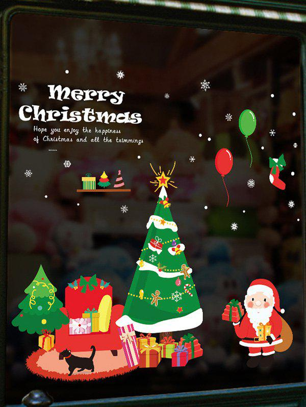 Discount Christmas Tree Gifts Santa Claus Print Wall Art Stickers