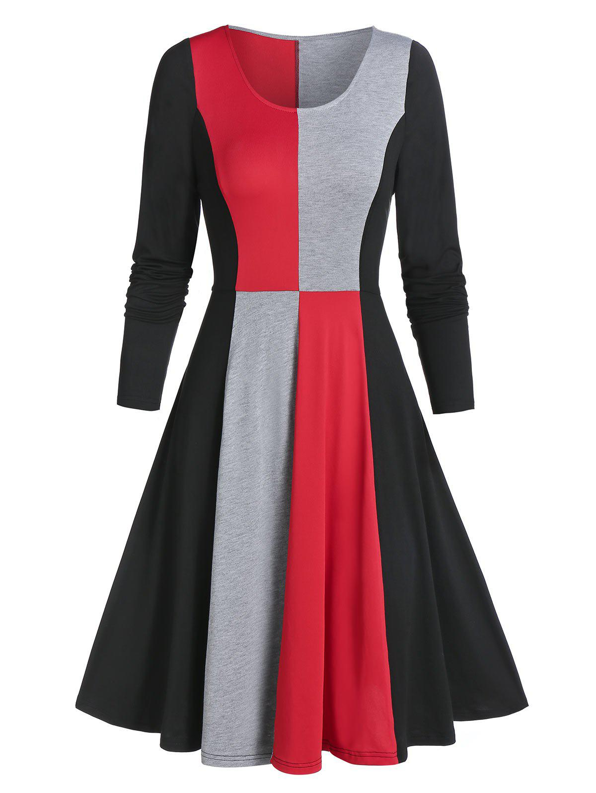 Contraste manches longues Robe patineuse