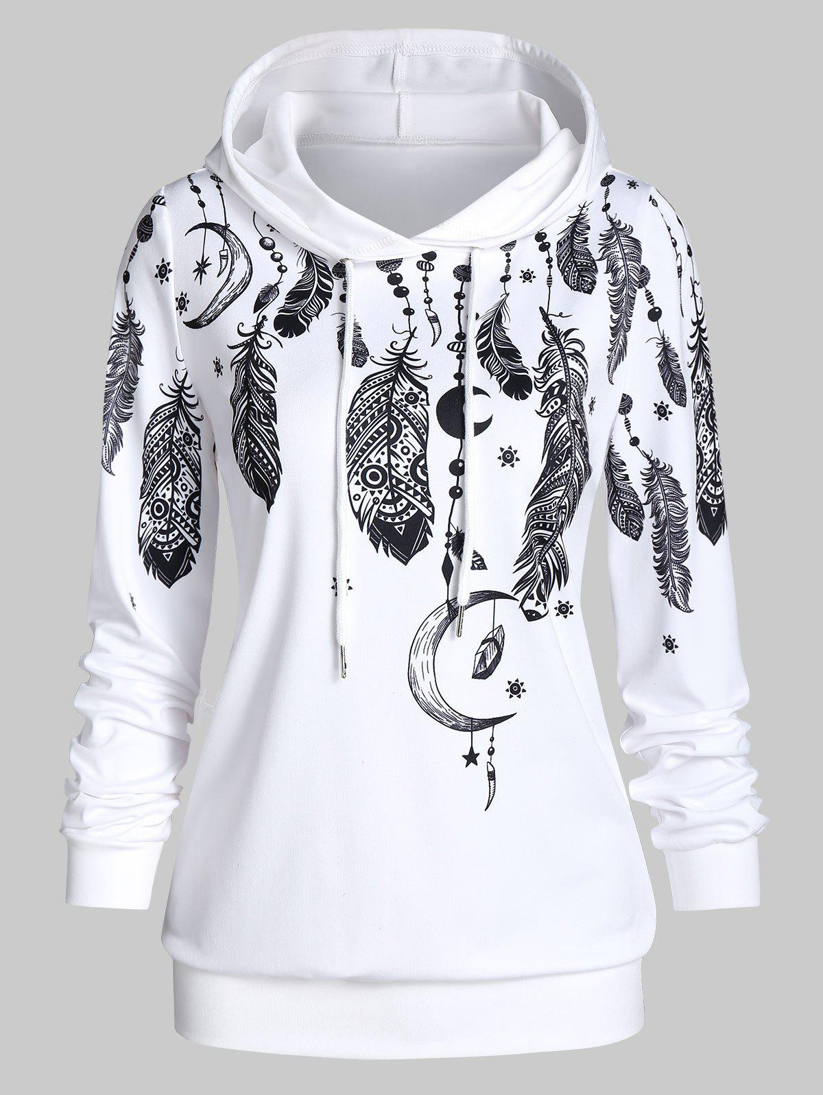 Shop Ethnic Feather Print Lounge Hoodie