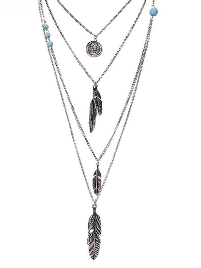 Affordable Artificial Turquoise Feather Layered Pendant Necklace