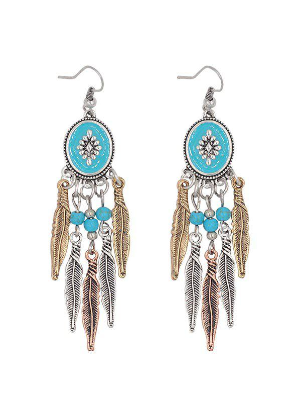 Artificial Turquoise Feather Drop Earrings, Silver