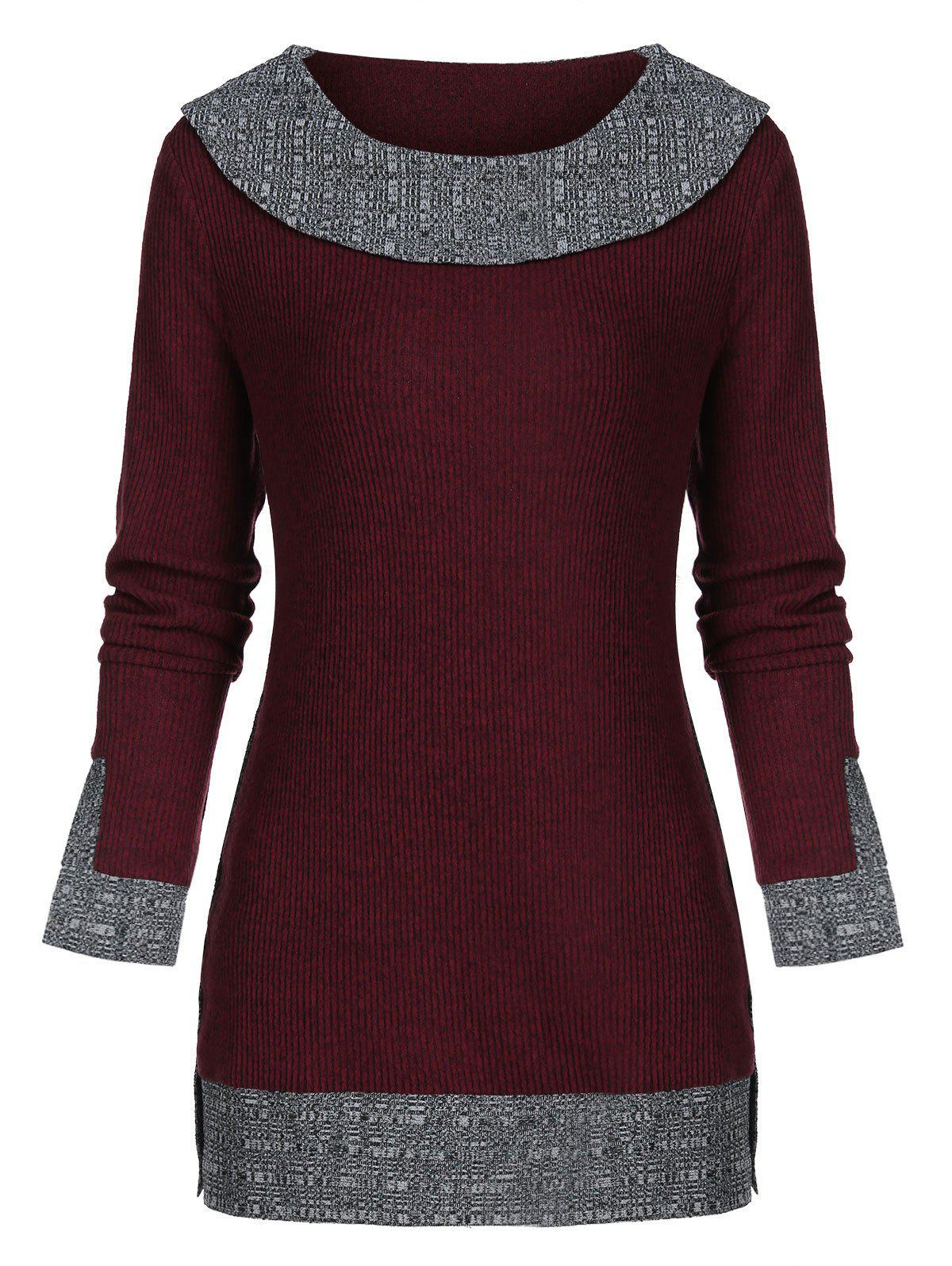 Trendy Contrast Trim Tunic Knitwear