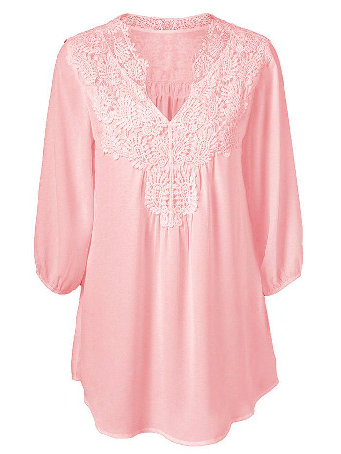 Online V Neck Lace Panel Curved Hem Chiffon Plus Size Blouse