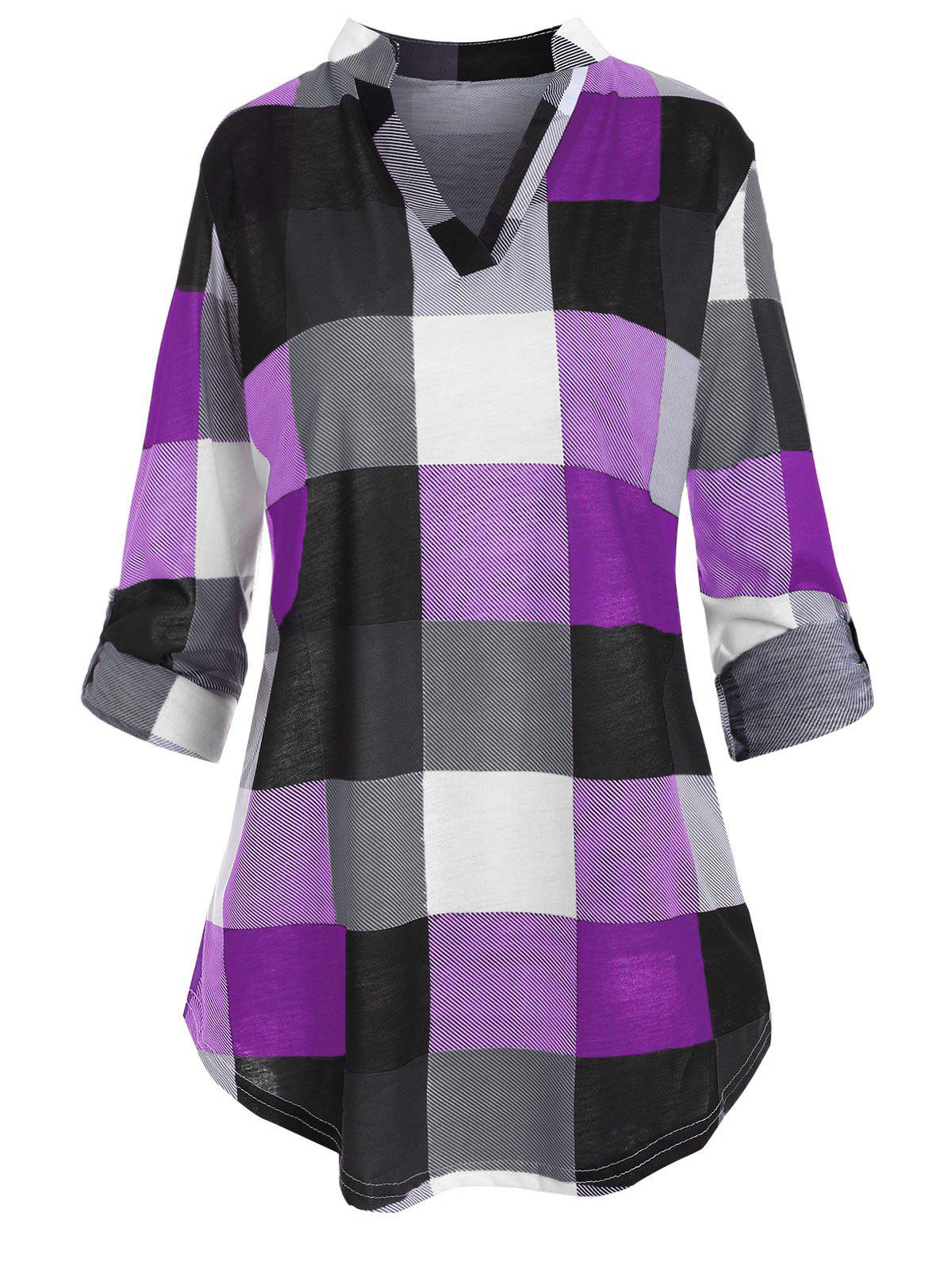 Plus Size Checked Roll Up Sleeve Blouse фото