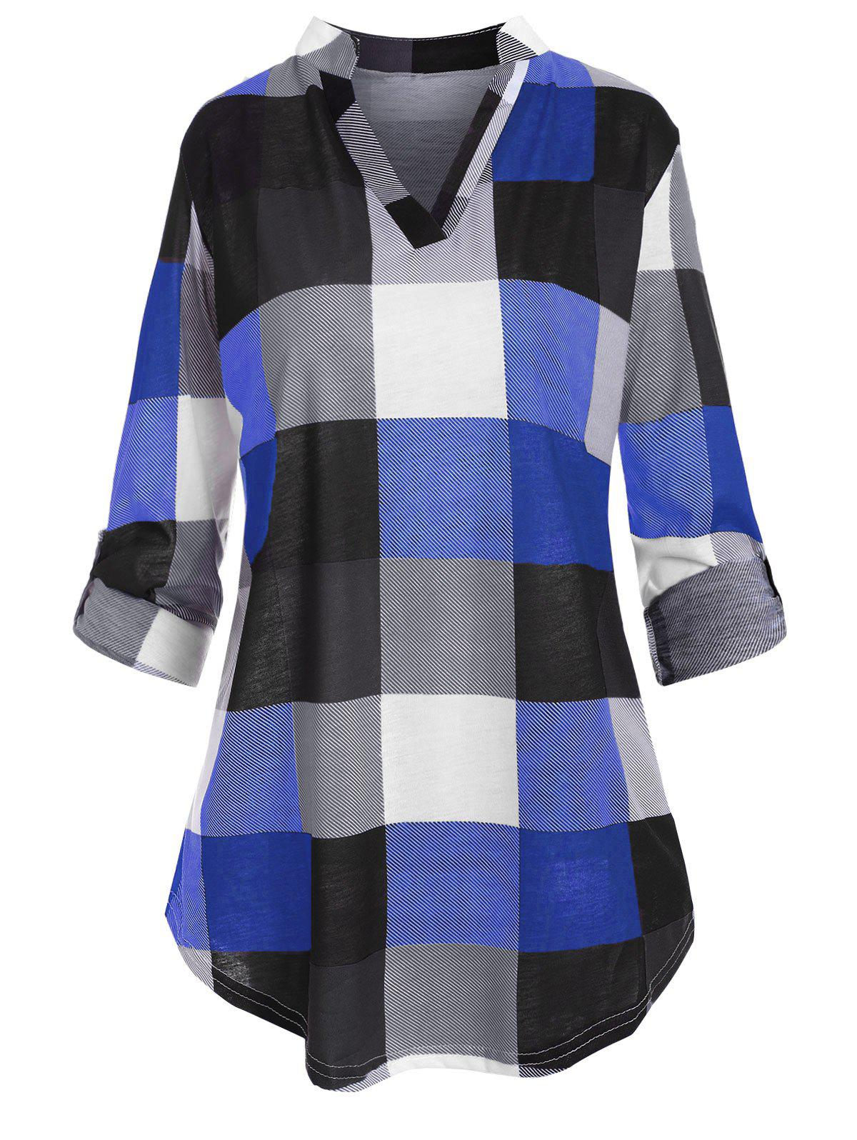 Shops Plus Size Checked Roll Up Sleeve Blouse