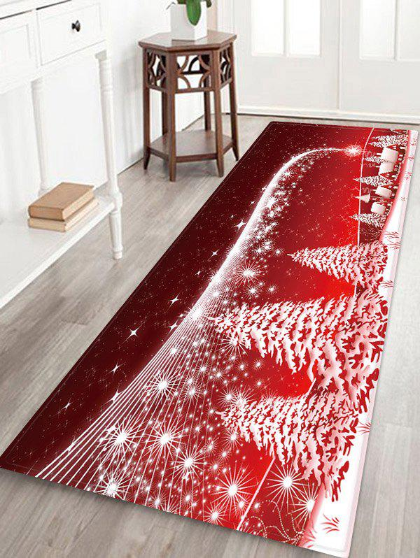 Affordable Christmas Tree Village Pattern Water Absorption Area Rug