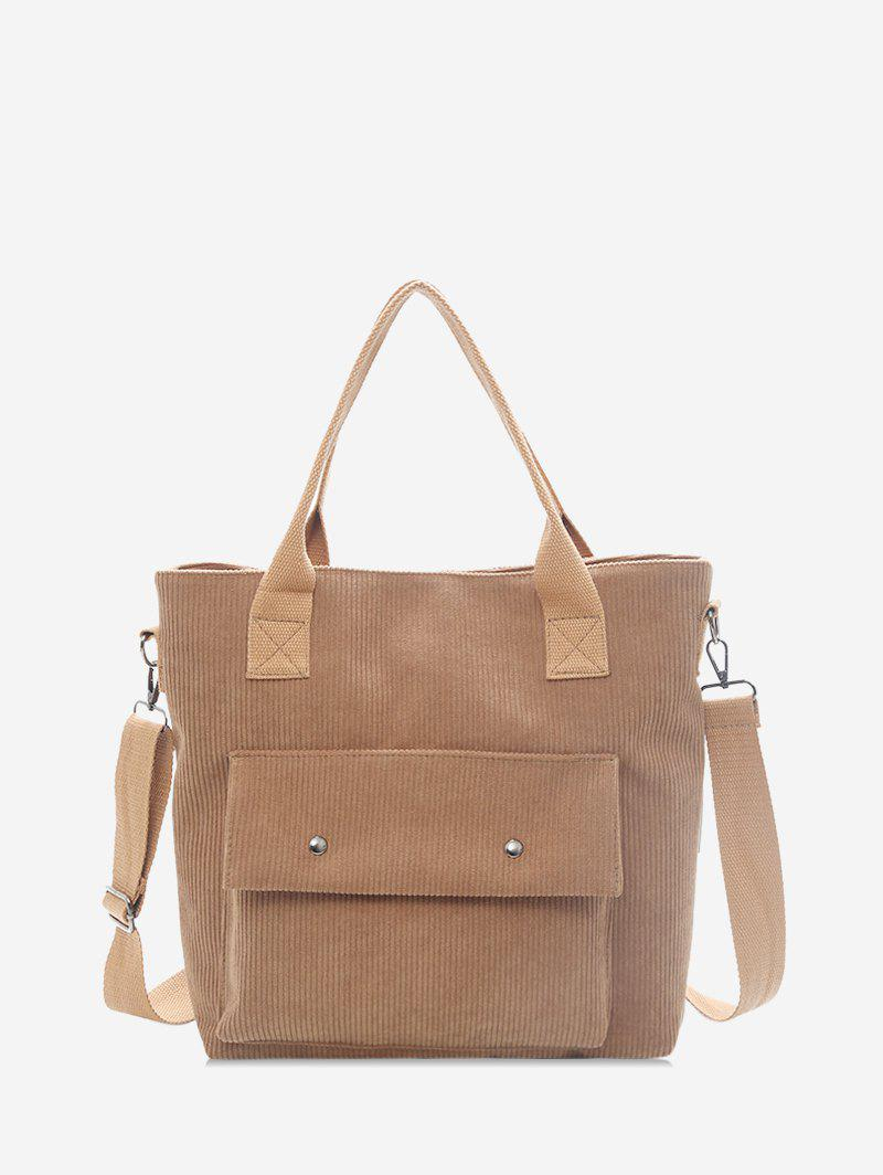 Outfits Plain Flap Pocket Corduroy Shoulder Bag