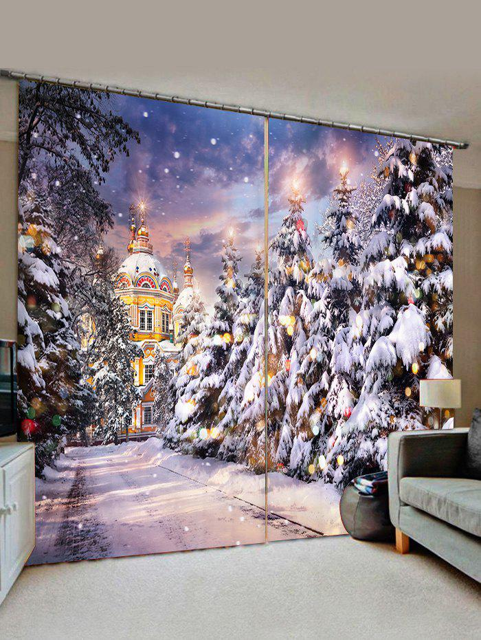 2 Panels Christmas Tree Castle Street Print Window Curtains thumbnail