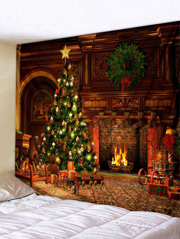 Online Christmas Tree Fireplace Print Tapestry Wall Hanging Art