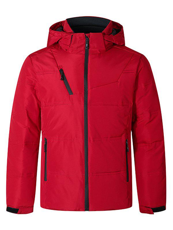 Hot Solid Color Front Zip Hooded Puffer Jacket