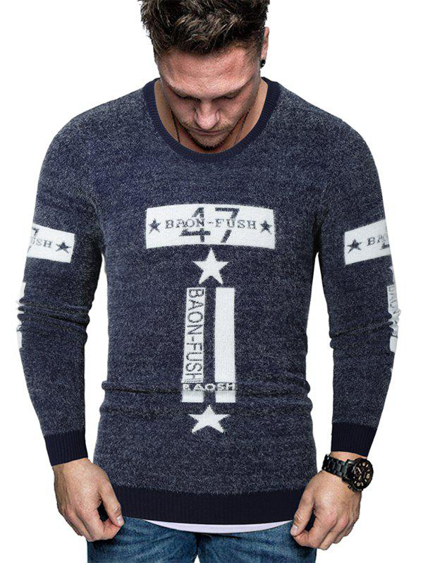 Hot Letter Star Graphic Fuzzy Crew Neck Sweater