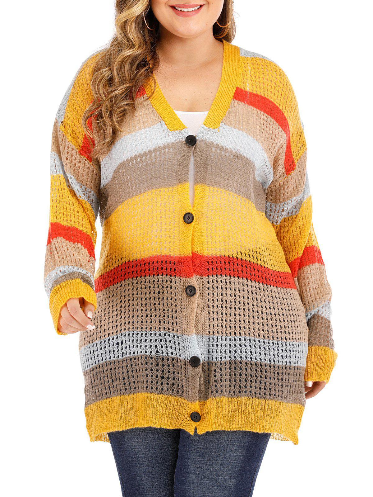 Plus Size Colorblock Bouton Cardigan Jaune 3X