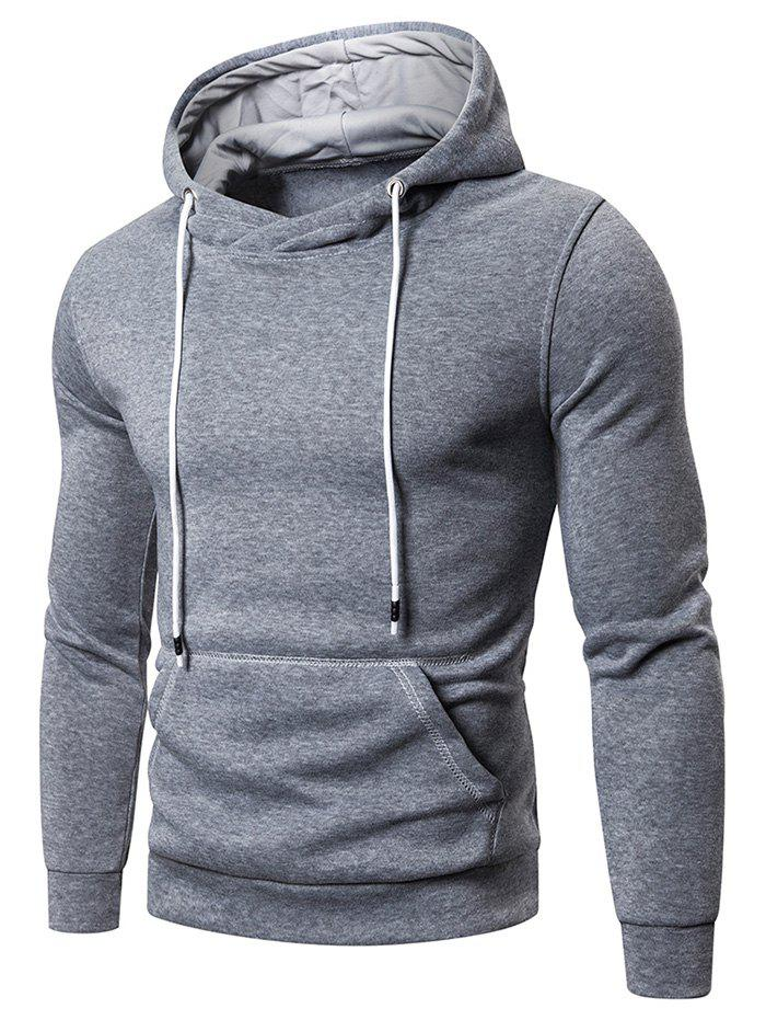 Discount Solid Color Pocket Hoodie