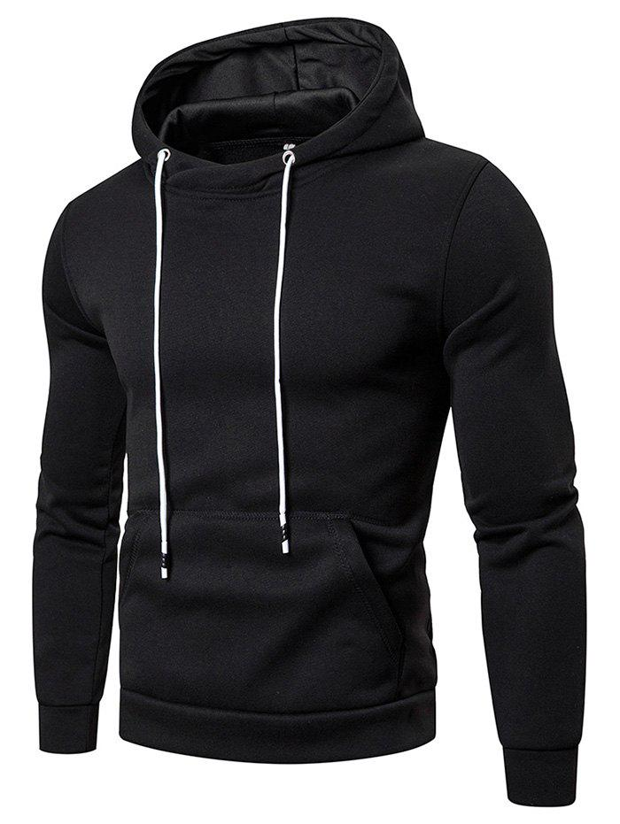 Chic Solid Color Pocket Hoodie