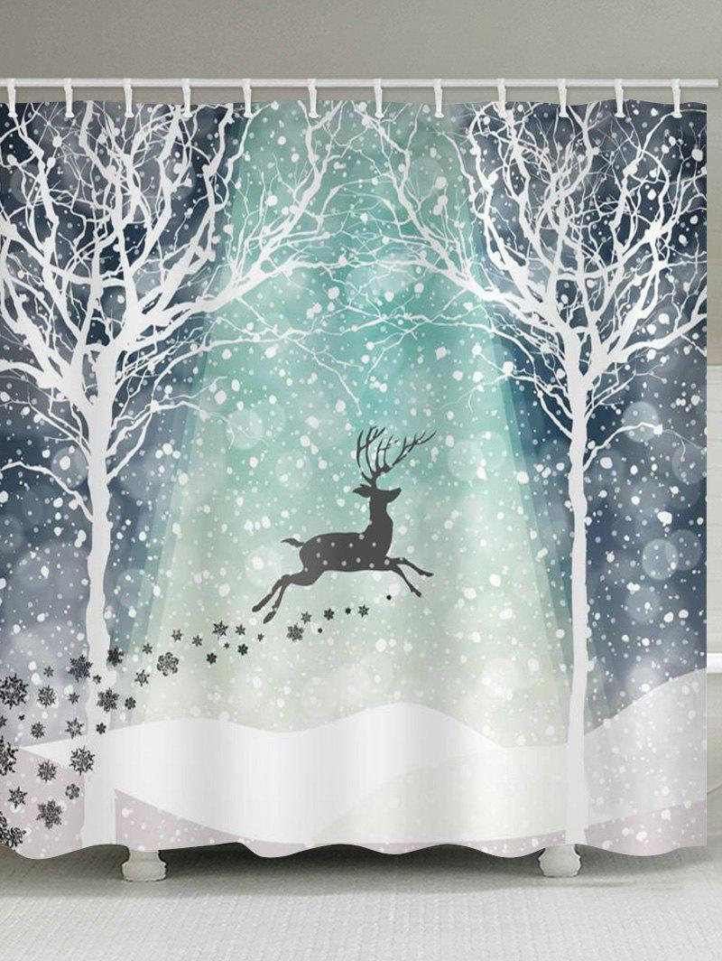 Chic Christmas Snowflake Deer Waterproof Shower Curtain