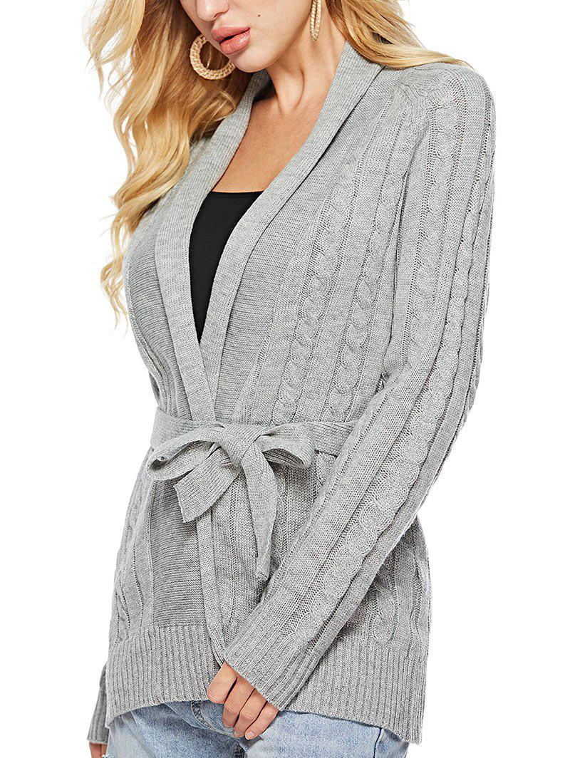 Trendy Cable Knit Solid Color Belted Cardigan