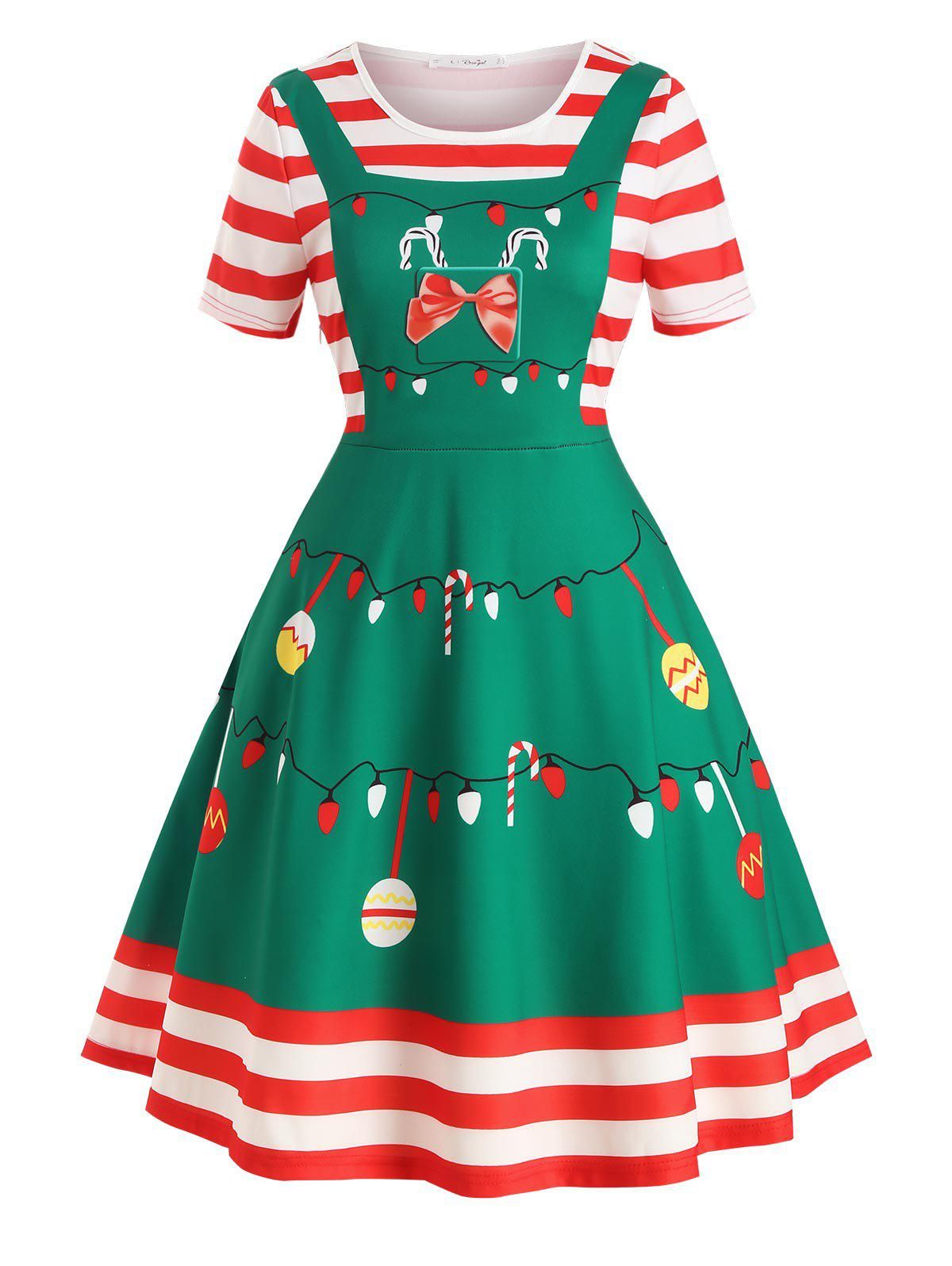 Hot Plus Size Christmas Print Vintage Swing Dress