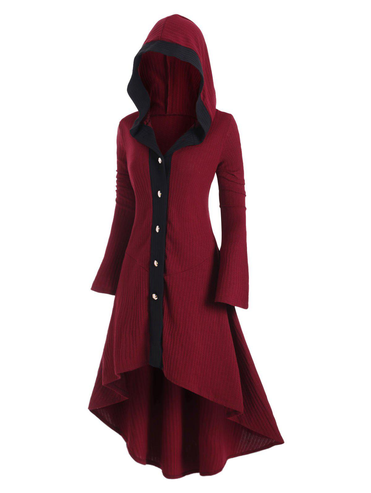 Shop Plus Size Hooded High Low Flare Sleeve Dovetail Long Cardigan