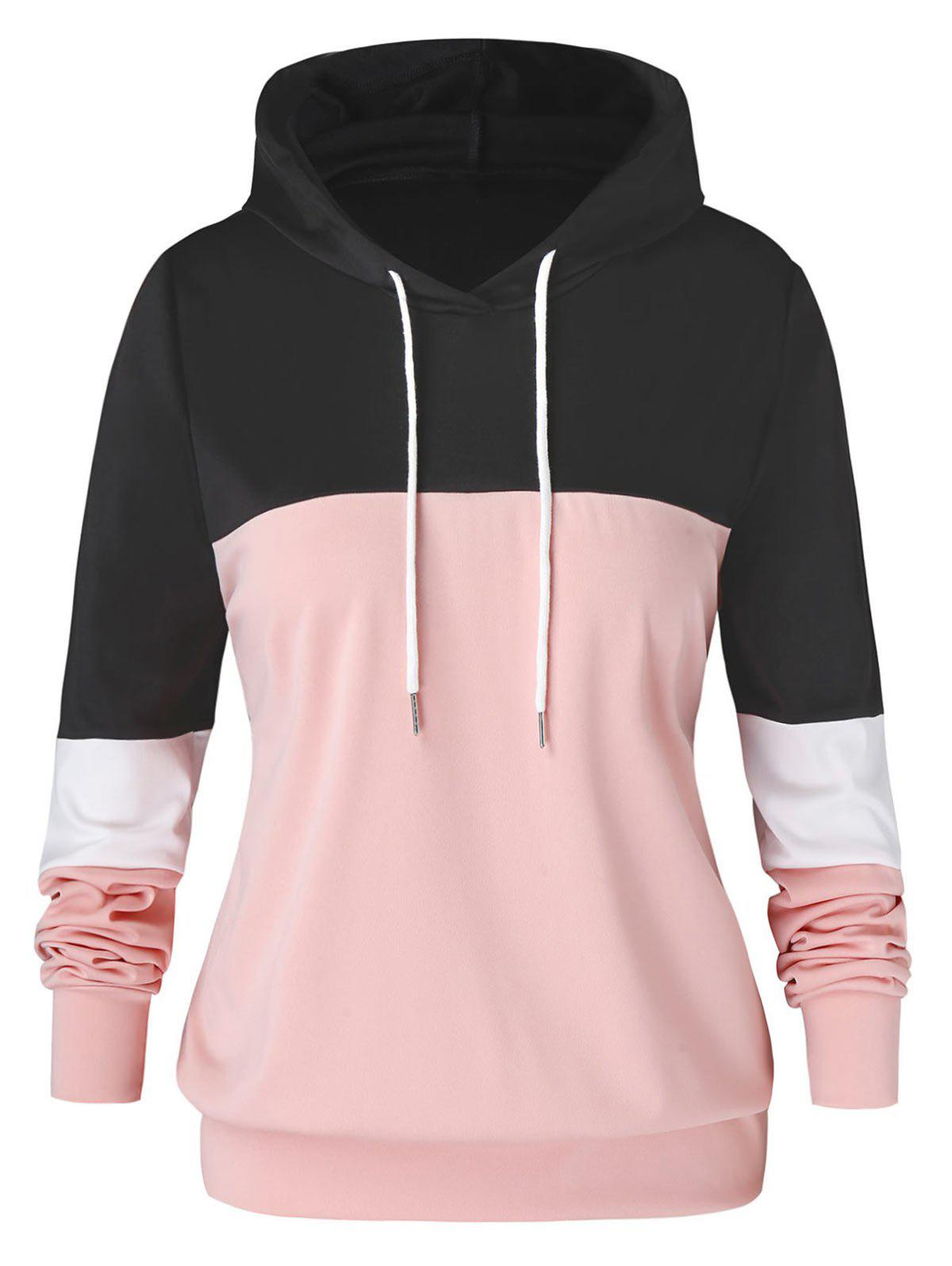 Outfit Plus Size Color-blocking Drawstring Pullover Hoodie