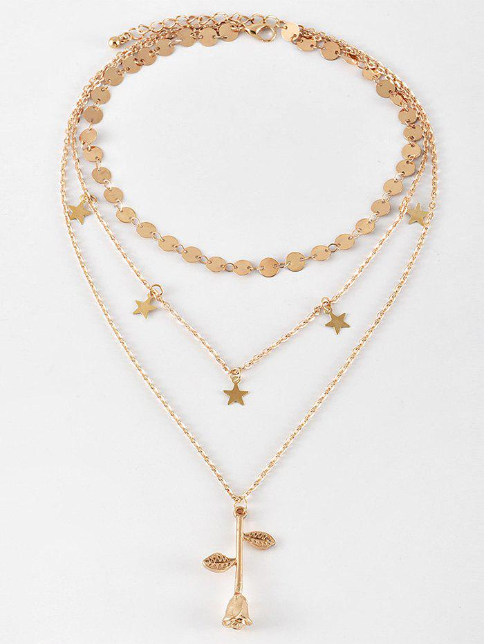 Best Sequin Star Rose Flower Pendant Layered Necklace
