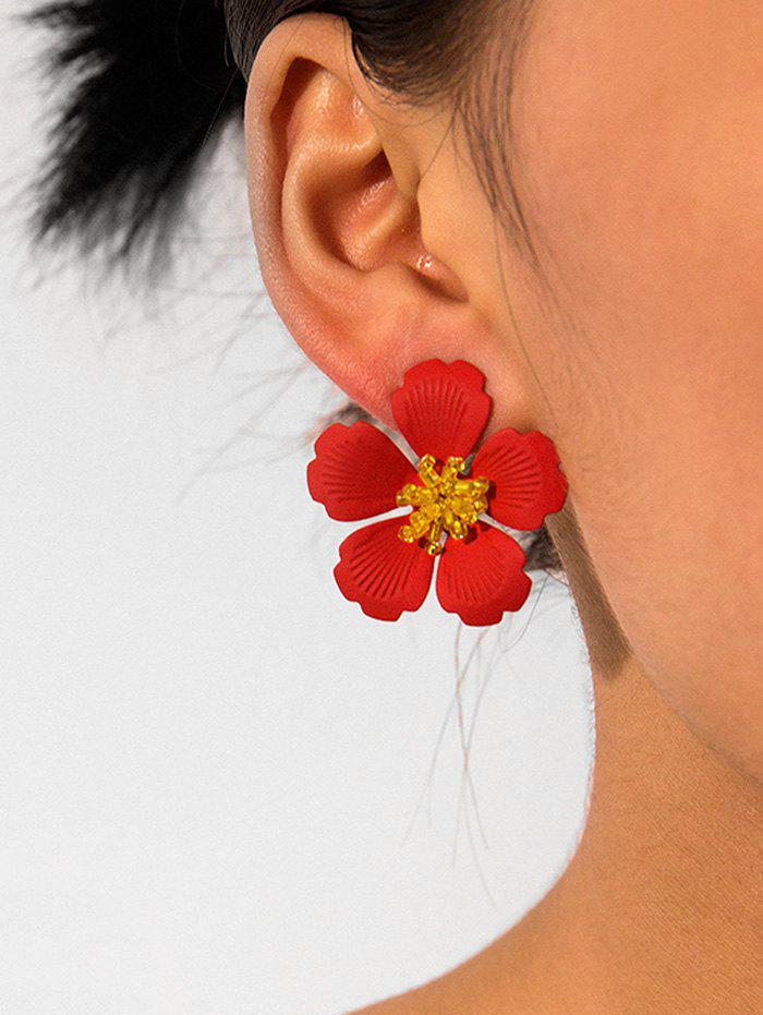 New Carved Petal Flower Design Stud Earrings