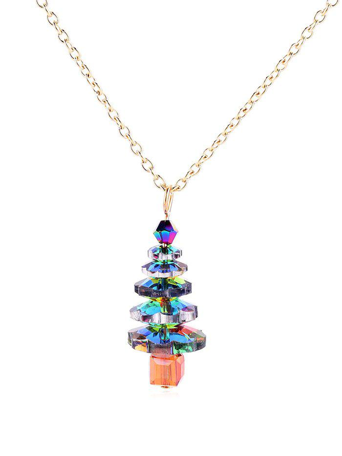 Fancy Christmas Tree Faux Crystal Pendant Necklace