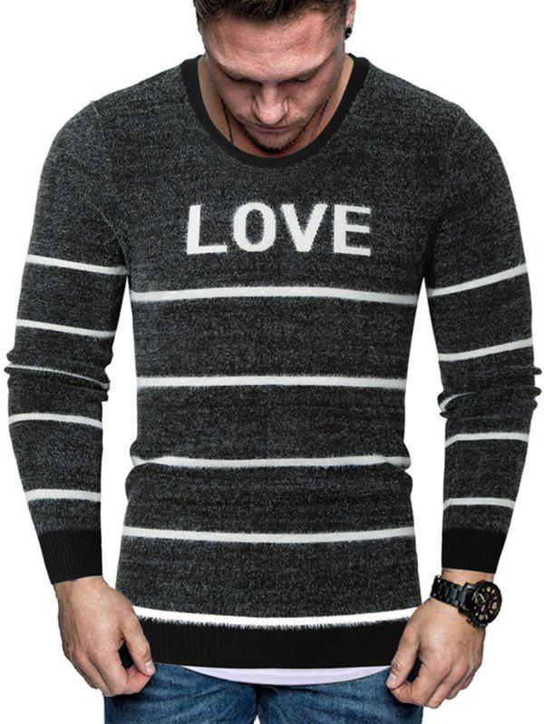 Cheap Letter Striped Crew Neck Fuzzy Sweater