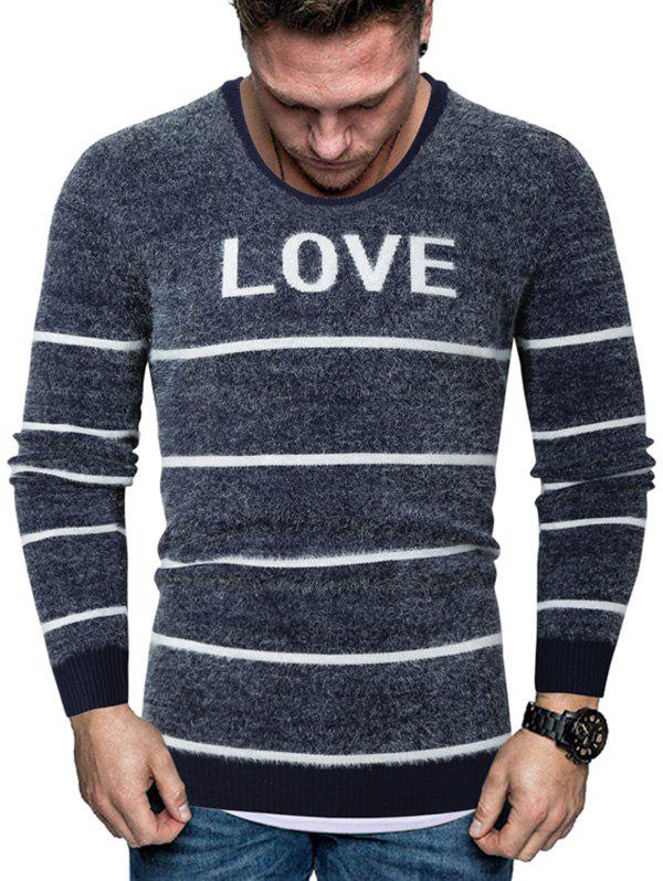 Store Letter Striped Crew Neck Fuzzy Sweater