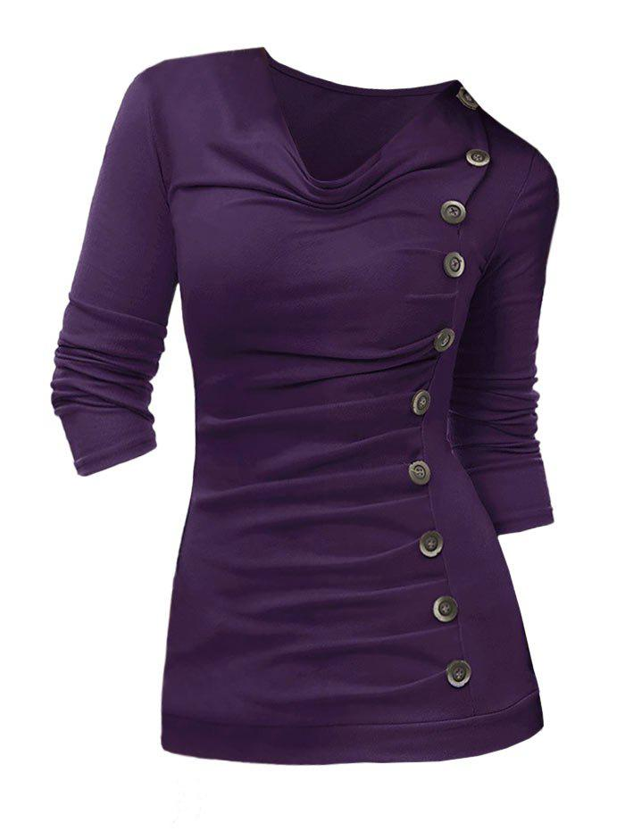 Affordable Plus Size Cowl Neck Buttoned Ruched Top