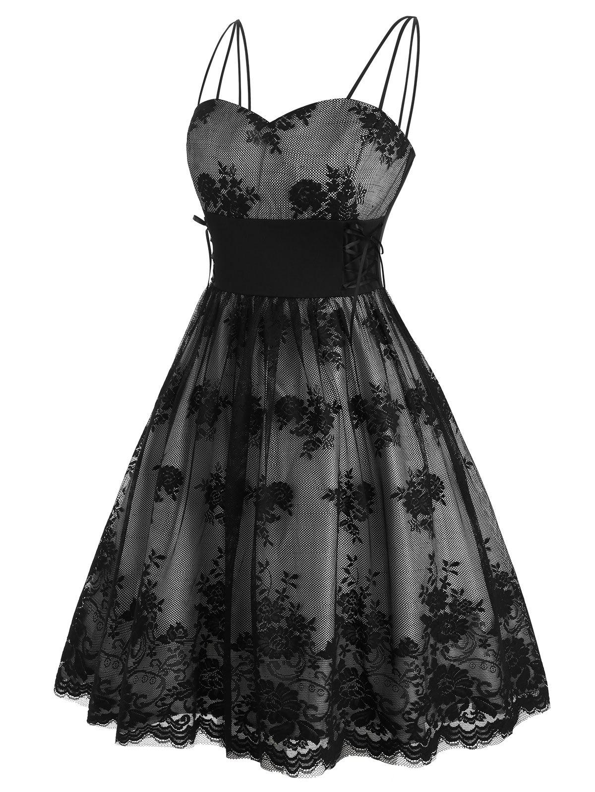 Discount Plus Size Lace Up Floral Mesh Party Cocktail Dress